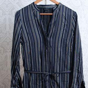 Ann Taylor Dresses - ANN TAYLOR Striped Shirt Button Front Belted Dress
